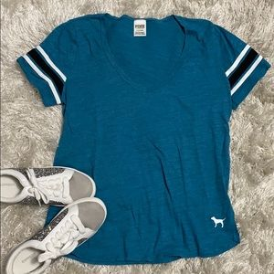 PINK VS Turquoise Teal Striped College Sport Tee